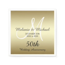 Gold 50th Wedding Anniversary Paper Napkins
