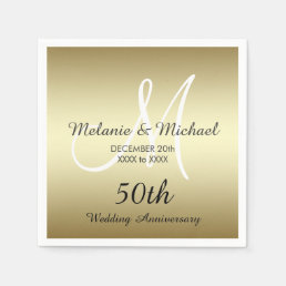 Gold 50th Wedding Anniversary Paper Napkins