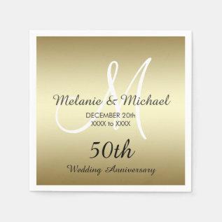 Gold 50th Wedding Anniversary Paper Napkins at Zazzle