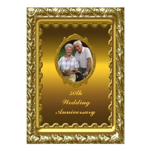 Gold 50th Wedding Anniversary Party Invitation