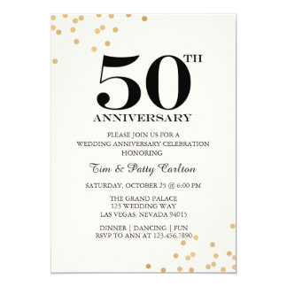 Gold 50th Wedding Anniversary Party invitation Zazzle_invitation2