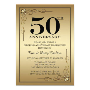 Gold 50th Wedding Anniversary Party invitation