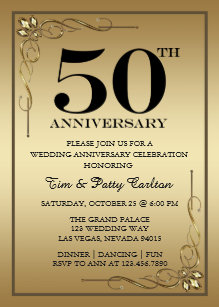 50th Wedding Anniversary Invitations Stationery Zazzle
