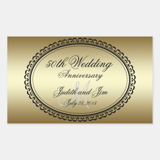 50th Wedding Anniversary Gift Etiquette: Gold 50th Wedding Anniversary Rectangular Sticker