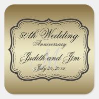 Gold 50th Wedding Anniversary Square Sticker
