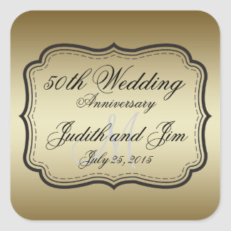 Gold 50th Wedding Anniversary Square Sticker