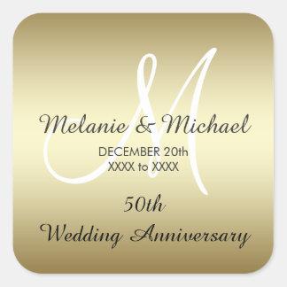Gold 50th Wedding Anniversary Stickers