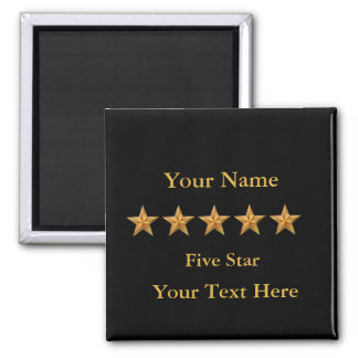 Gold 5 Five Star Custom Black Square 2 Inch Square Magnet