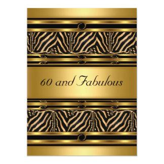 "Gold  60 and Fabulous Birthday Party Invitation 6.5"" X 8.75"" Invitation Card"