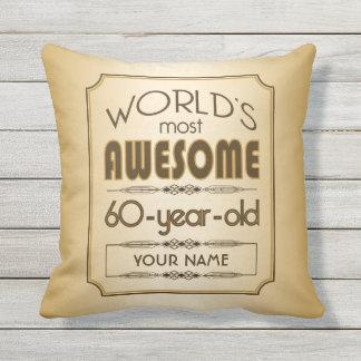 Gold 60th Birthday Celebration World Best Fabulous Throw Pillow