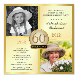 Gold 60th Birthday Invitations Then & Now 2 Photos