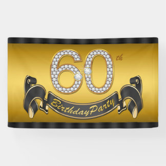 Gold 60th Birthday Party Banner