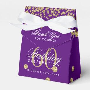 Gold 60th Birthday Thank You Confetti Purple Favor Box