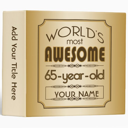 Gold 65th Birthday Celebration World Best Fabulous 3 Ring Binders