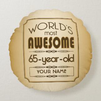 Gold 65th Birthday Celebration World Best Fabulous Round Pillow