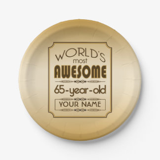 Gold 65th Birthday Celebration World Best Fabulous Paper Plate