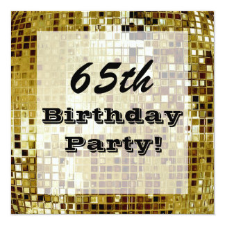 Gold 65th Or Any Age Birthday Party Invitation