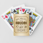 Gold 70th Birthday Celebration World Best Fabulous Bicycle Playing Cards