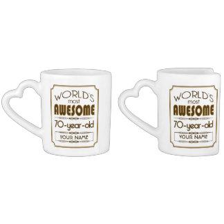Gold 70th Birthday Celebration World Best Fabulous Coffee Mug Set