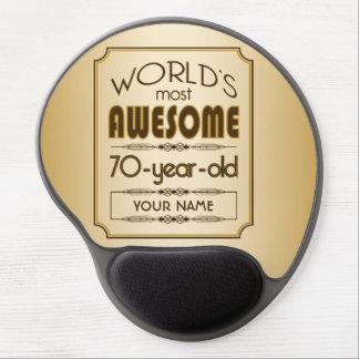 Gold 70th Birthday Celebration World Best Fabulous Gel Mouse Pad