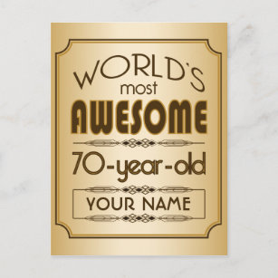 Gold 70th Birthday Celebration World Best Fabulous Invitation Postcard