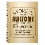 Gold 70th Birthday Celebration World Best Fabulous Spiral Notebook