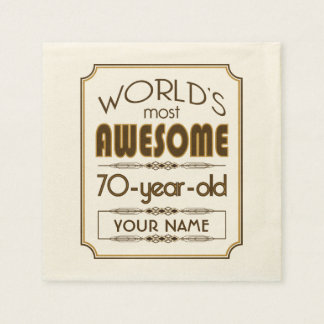 Gold 70th Birthday Celebration World Best Fabulous Paper Napkin