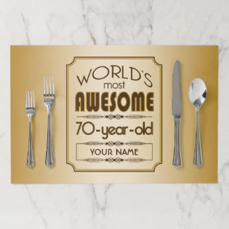 Gold 70th Birthday Celebration World Best Fabulous Paper Placemat