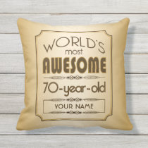 Gold 70th Birthday Celebration World Best Fabulous Throw Pillow