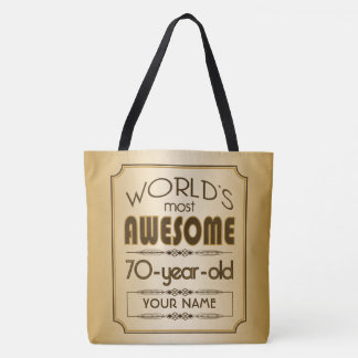 Gold 70th Birthday Celebration World Best Fabulous Tote Bag