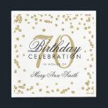 "Gold 70th Birthday Glitter Confetti White Napkin<br><div class=""desc"">Elegant & Modern 70th Birthday Gold Faux Glitter Confetti White design.</div>"