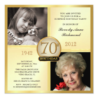 Gold 70th Birthday Invitations Then & Now 2 Photos