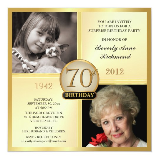 Gold 70th Birthday Invitations Then Now 2 Photos