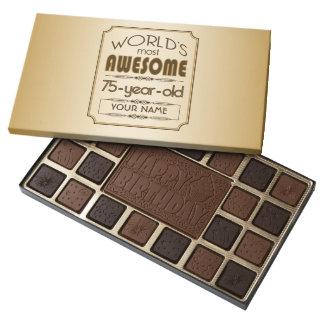 Gold 75th Birthday Celebration World Best Fabulous 45 Piece Box Of Chocolates