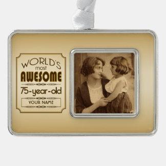 Gold 75th Birthday Celebration World Best Fabulous Ornament