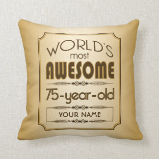 Gold 75th Birthday Celebration World Best Fabulous Throw Pillow