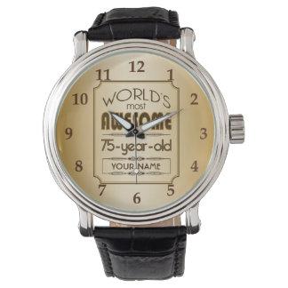 Gold 75th Birthday Celebration World Best Fabulous Wristwatch