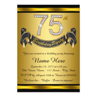 Gold 75th Birthday Party 5x7 Paper Invitation Card