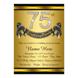75th birthday invitations announcements zazzle gold 75th birthday party card bookmarktalkfo Images