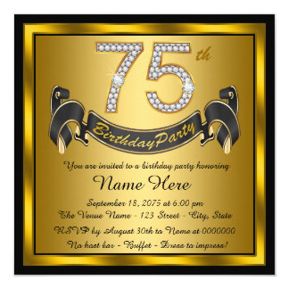 Gold 75th Birthday Party 5.25x5.25 Square Paper Invitation Card