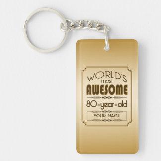 Gold 80th Birthday Celebration World Best Fabulous Double-Sided Rectangular Acrylic Keychain