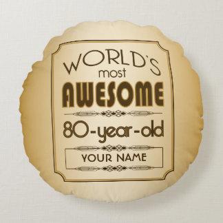 Gold 80th Birthday Celebration World Best Fabulous Round Pillow