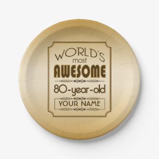 Gold 80th Birthday Celebration World Best Fabulous Paper Plate