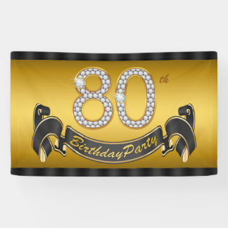 Gold 80th Birthday Party Banner