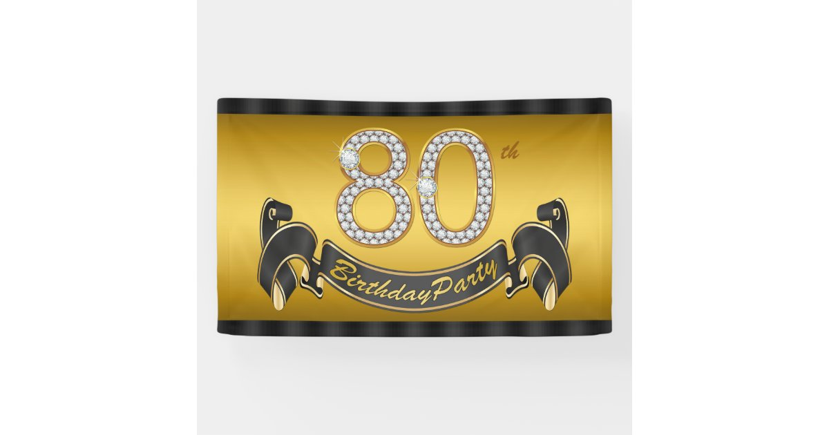 Gold 80th Birthday Party Banner Zazzle Com