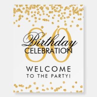 Gold 80th Birthday Party Glitter Confetti  Foam Board