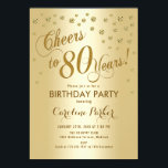 "Gold 80th Birthday Party Invitation<br><div class=""desc"">80th Birthday Party Invitation Elegant design with faux glitter gold and gold foil effect. Cheers to 80 Years!</div>"