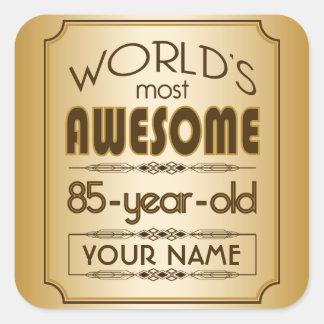 Gold 85th Birthday Celebration World Best Fabulous Square Sticker