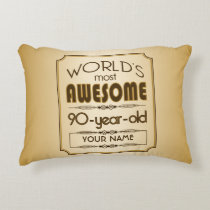 Gold 90th Birthday Celebration World Best Fabulous Decorative Pillow