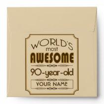 Gold 90th Birthday Celebration World Best Fabulous Envelope